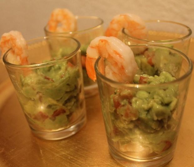 Verrine guacamole et crevette