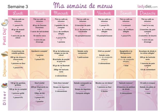 menu régime