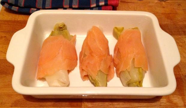 Gratin endives bechamel et saumon